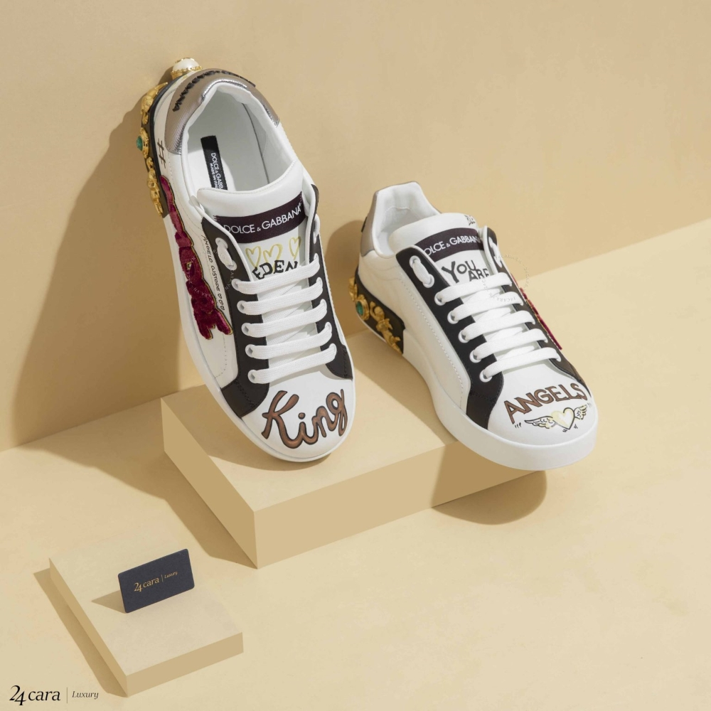 Giày nam Dolce Printed Calfskin Portofino Sneaker With Patch